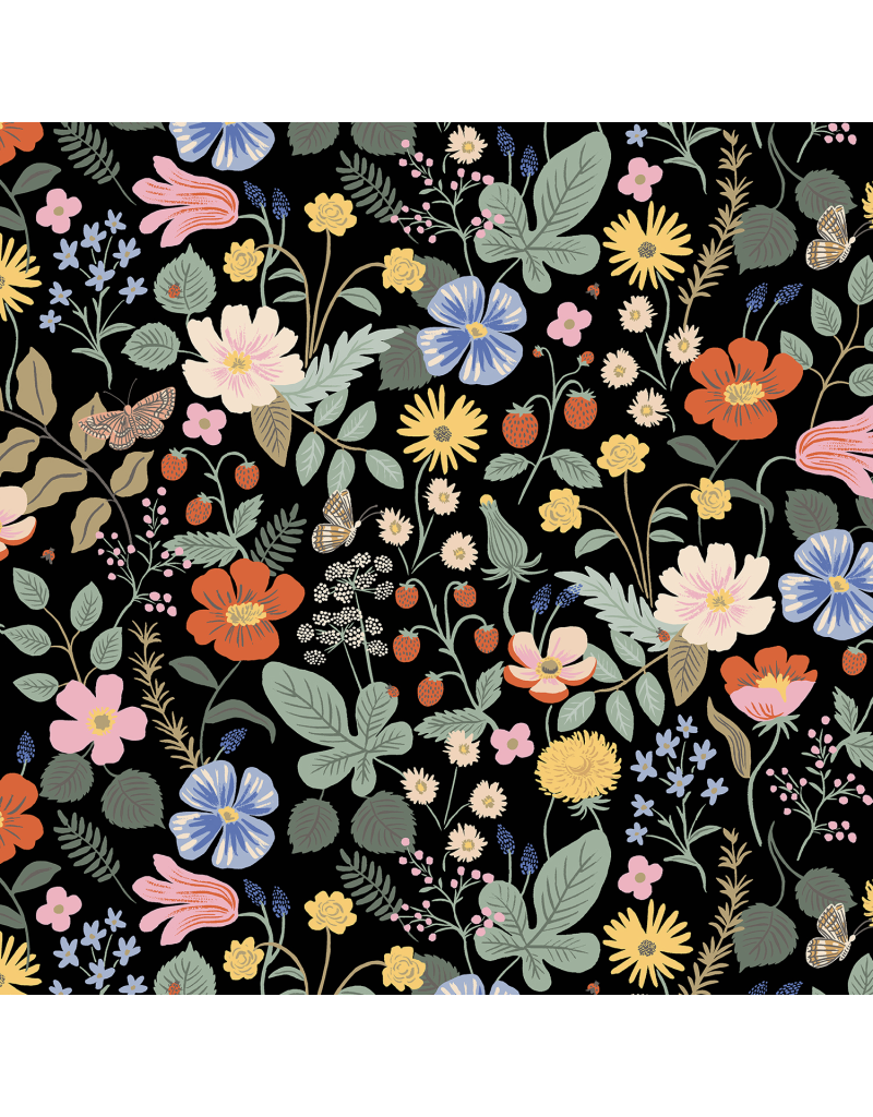 Rifle Paper Co. Strawberry Fields, Floral in Black, Fabric Half-Yards RP400-BK1
