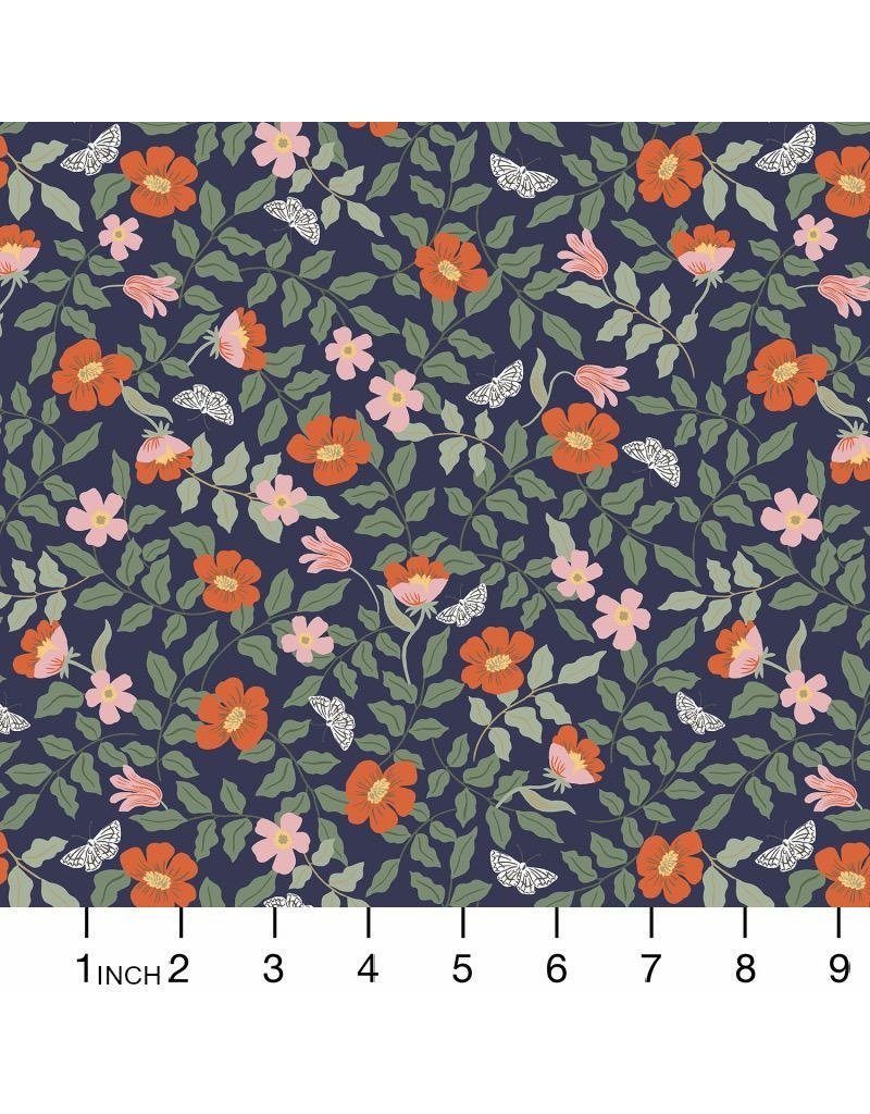 Rifle Paper Co. Strawberry Fields, Primrose in Navy, Fabric Half-Yards RP402-NA1