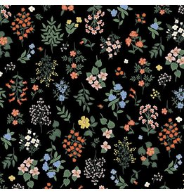 Rifle Paper Co. Strawberry Fields, Hawthorne in Black, Fabric Half-Yards RP401-BK1