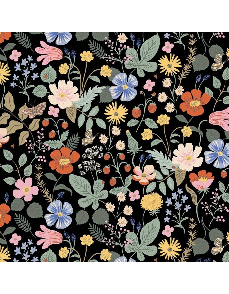 Rifle Paper Co. Rayon, Strawberry Fields, Floral in Black, Fabric Half-Yards RP400-BK5R
