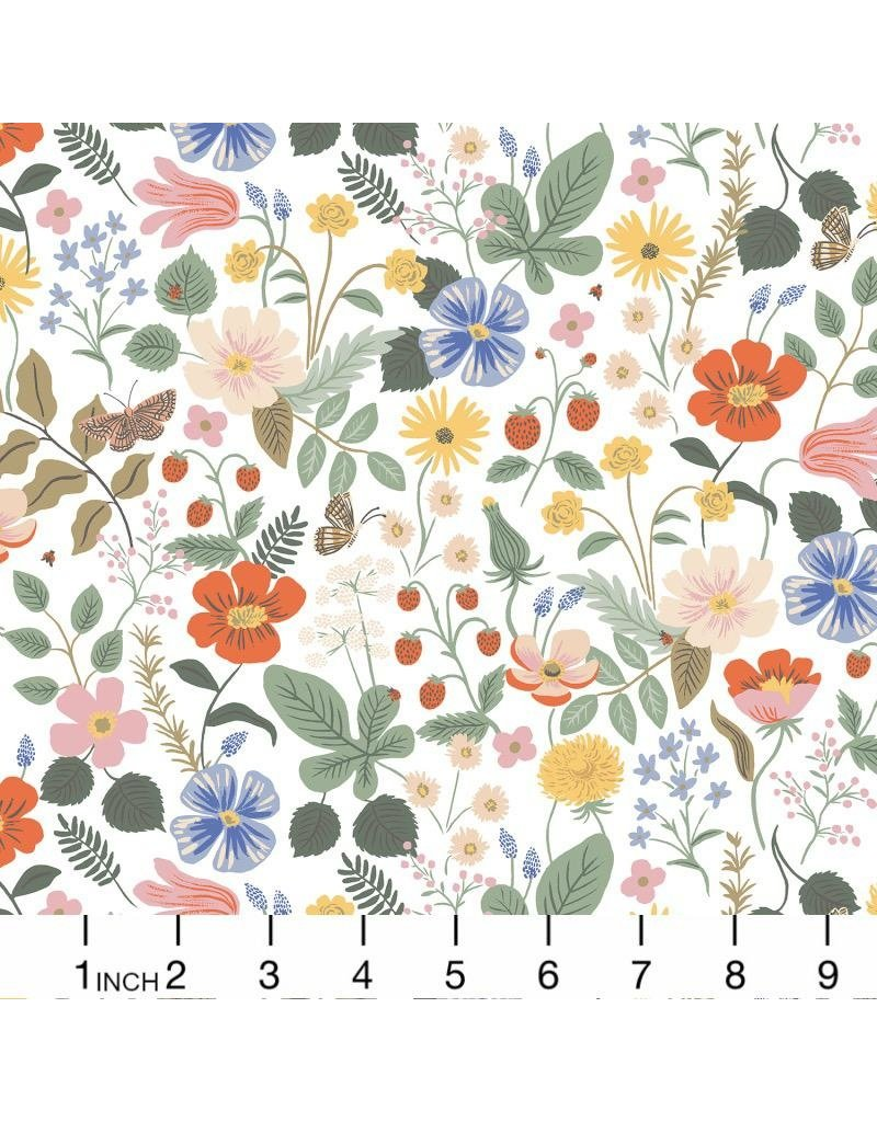 Rifle Paper Co. Rayon, Strawberry Fields, Floral in Ivory, Fabric Half-Yards RP400-IV7R