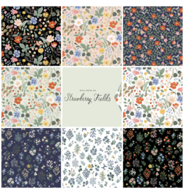 Picking Daisies Strawberry Fields by Rifle Paper Co., Fat Quarter Bundle containing 8 pcs.