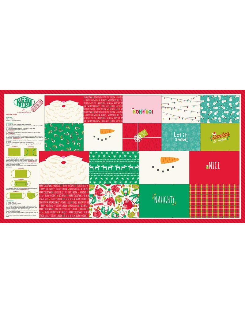 "Moda Safety First, Holiday Mask Panel  24""x44"" Fabric Panel 20771"