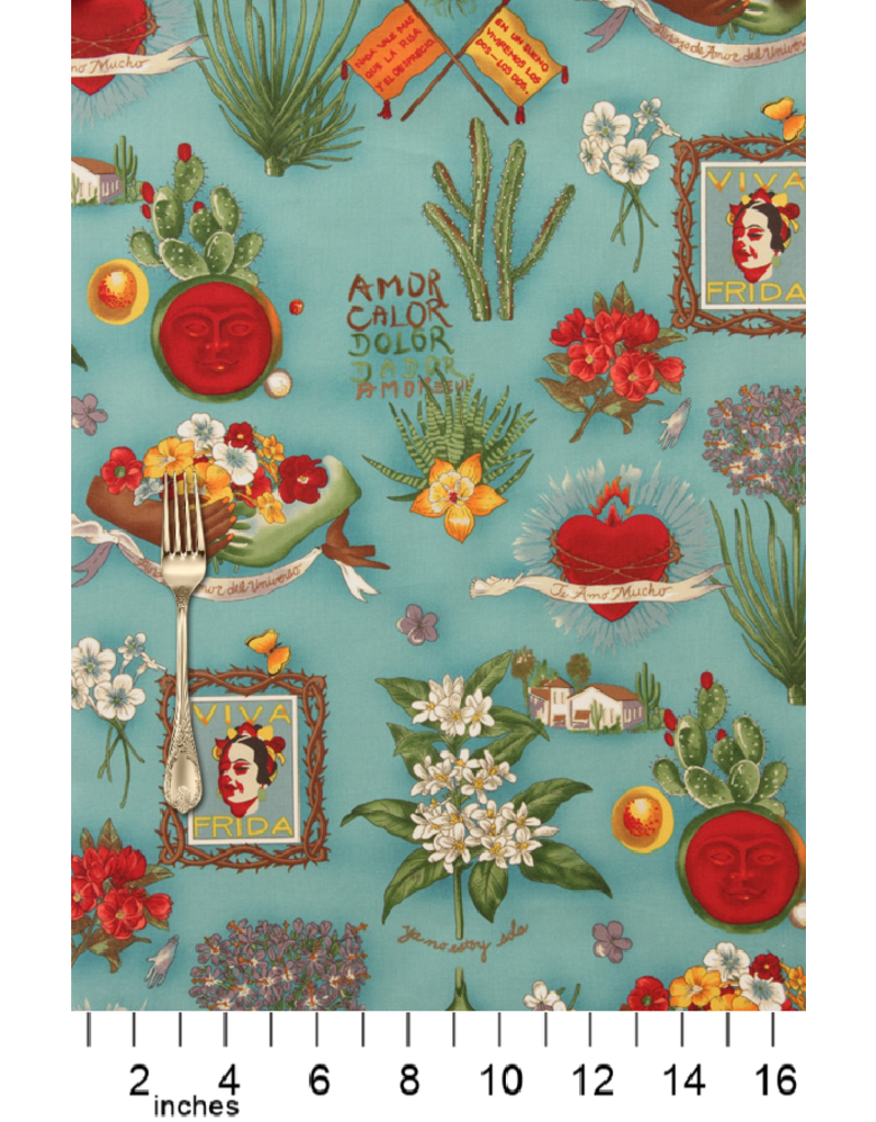 Alexander Henry Fabrics Folklorico, Viva Frida in Blue, Fabric Half-Yards 1406DRR