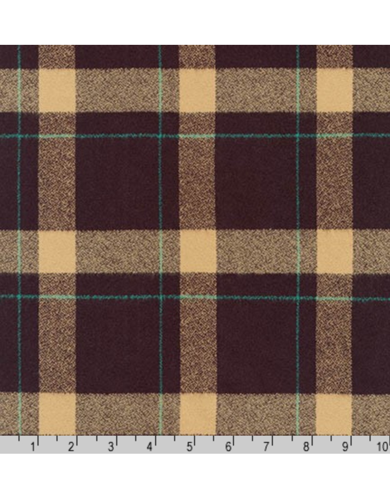Robert Kaufman Yarn Dyed Cotton Flannel, Mammoth Flannel in Brown, Fabric Half-Yards SRKF-17598-16