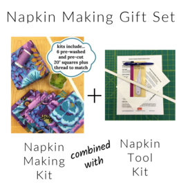 Picking Daisies Dinner Napkin Making Fabric + Tool Kit Gift Set