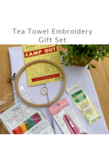 Picking Daisies Embroidery Kit, Tea Towel Gift Set, Camp Out with Fruit Salad Floss