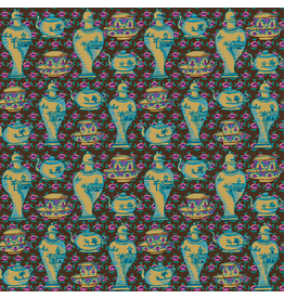 Kaffe Fassett ON SALE-Kaffe Collective, Delft Pots in Brown, Fabric full-Yards  PWGP165 (ONE HALF-YARD REMAINING)