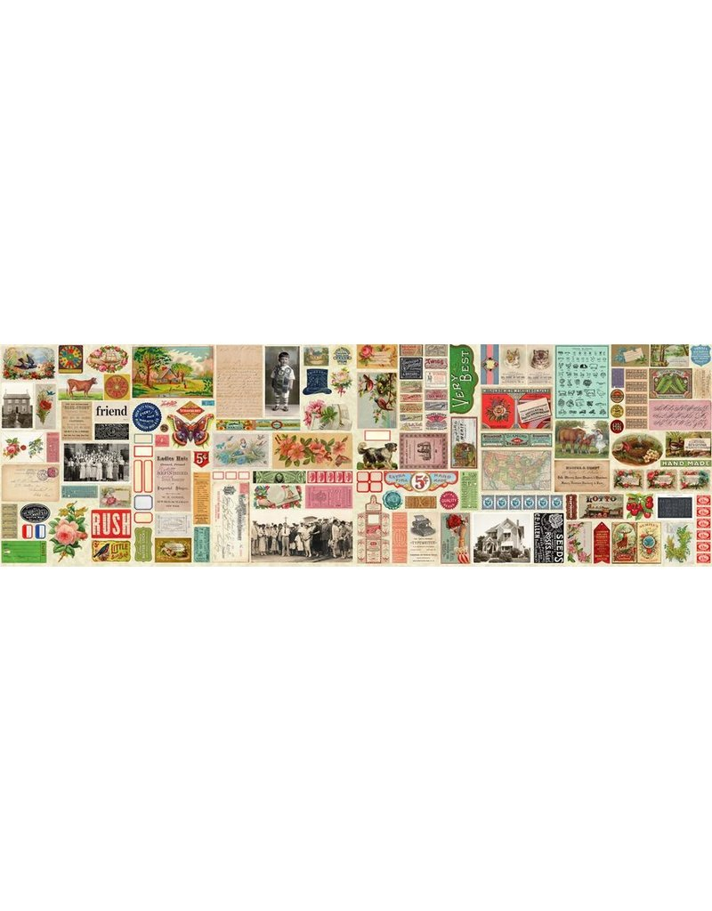 Moda Flea Market Moxie, Ephemera Flat Lay Mix in Parchment, Fabric Half-Yards 7350 11D