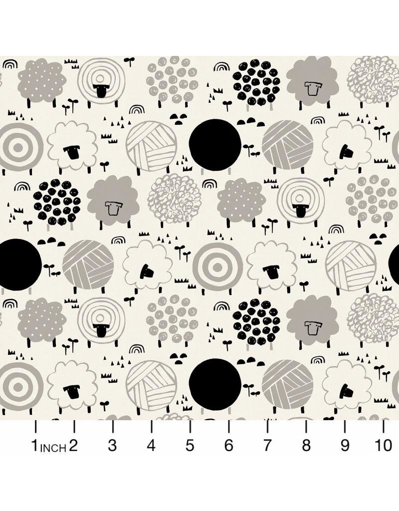 Cotton + Steel Full Moon, Fuwafuwa-san no Bokujo, Fluffy Sheep in Steel Wool on Unbleached Cotton, Fabric Half-Yards LV304-SB4
