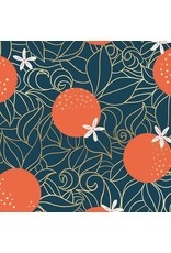 Sarah Watts Ruby Star Society, Florida, Orange Blossoms in Peacock with Metallic, Fabric Half-Yards RS2025 14M