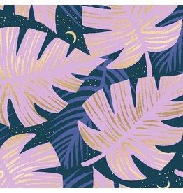 Sarah Watts Ruby Star Society, Florida, Shade Palms in Peacock with Metallic, Fabric Half-Yards RS2024 15M