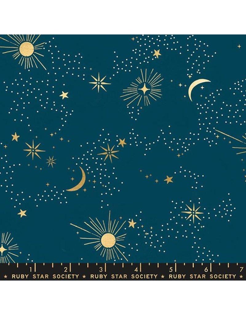 Sarah Watts Ruby Star Society, Florida, Cosmos in Peacock with Metallic, Fabric Half-Yards RS2028 14M
