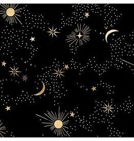 Sarah Watts Ruby Star Society, Florida, Cosmos in Black with Metallic, Fabric Half-Yards RS2028 15M