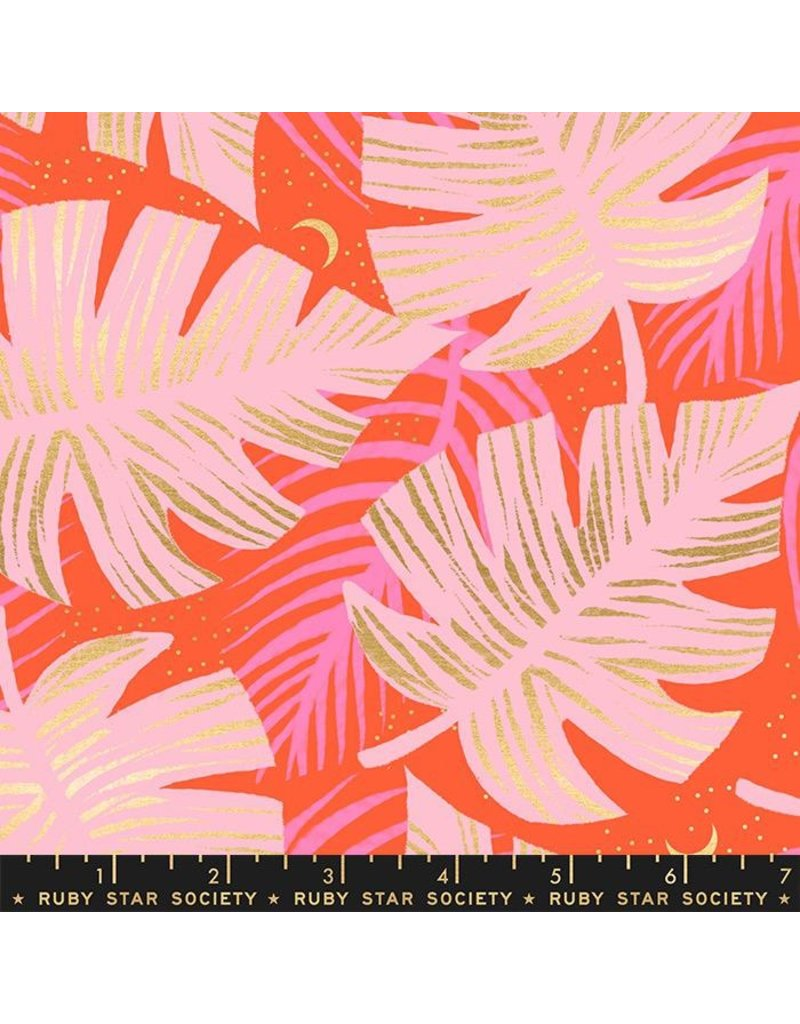 PD's Ruby Star Society Collection Ruby Star Society, Florida, Shade Palms in Fire with Metallic, Dinner Napkin