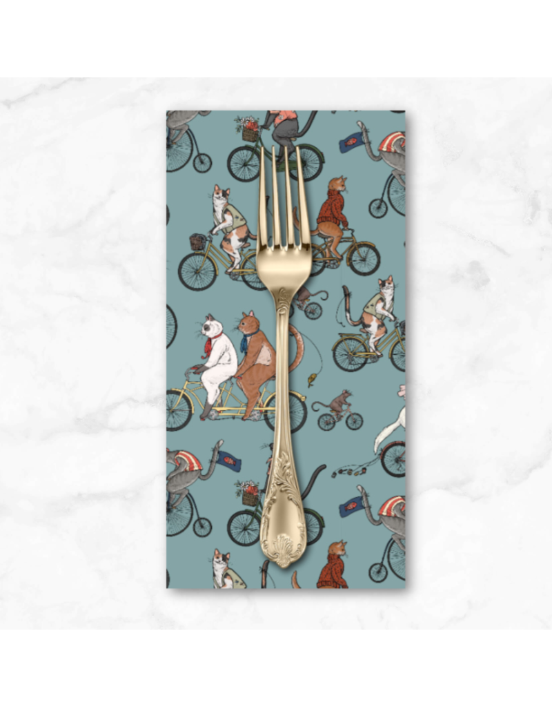 PD'S Free Spirit Collection Bicycle Race, Cats in Aquifer, Dinner Napkin