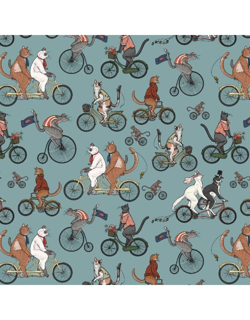 Free Spirit Bicycle Race, Cats in Aquifer, Fabric Half-Yards PWRH004