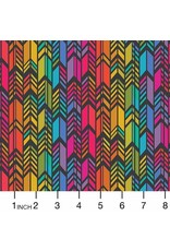 Alison Glass Art Theory, Rainbow Feather in Night, Fabric Half-Yards A-9701-C