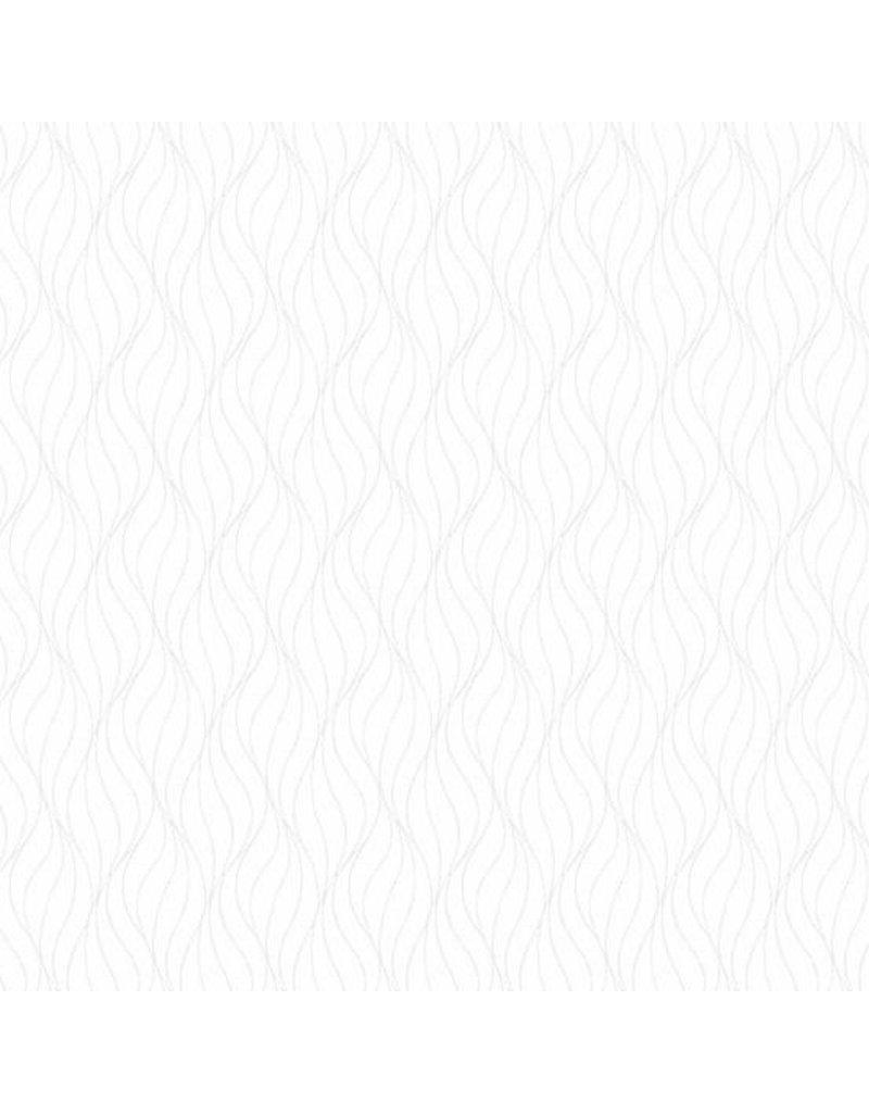 Andover Fabrics Century Whites, White on White Waves, Fabric Half-Yards CS-9672-WW.