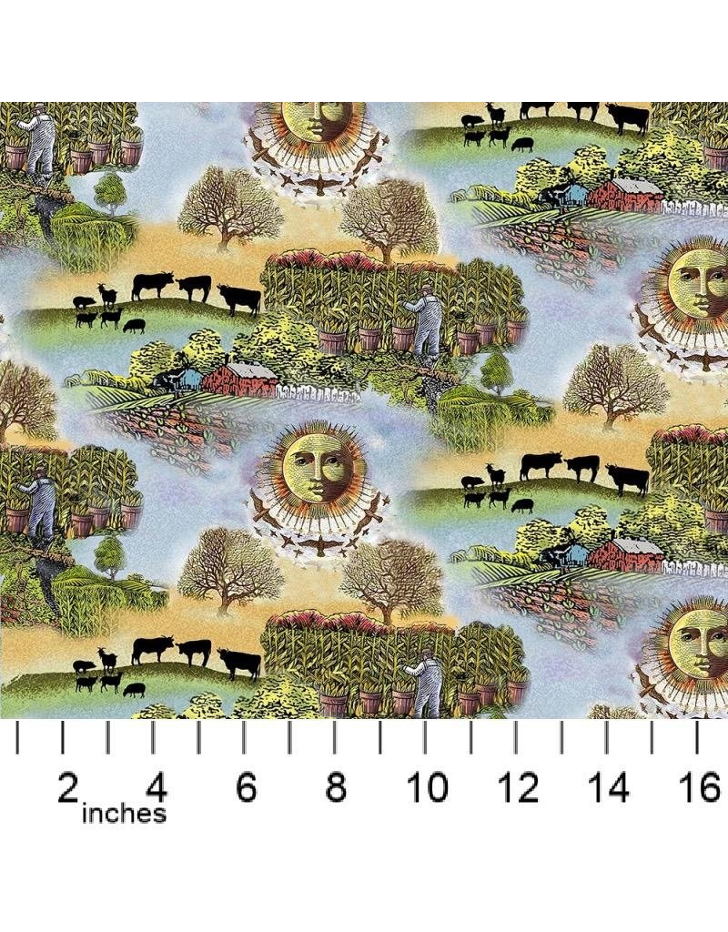 PD's Sykel Fabrics Collection Old Farmers Almanac, Celestial Scenic, Dinner Napkin