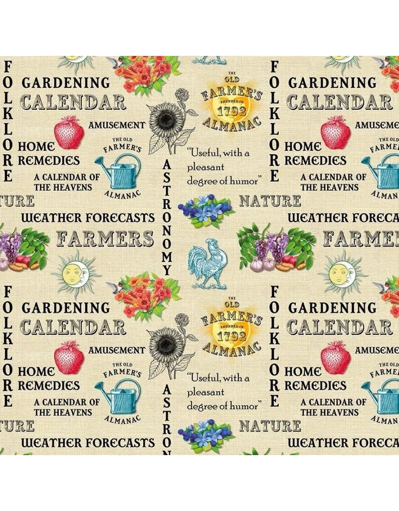 Sykel Fabrics Old Farmers Almanac, Celestial Words, Fabric Half-Yards 10327
