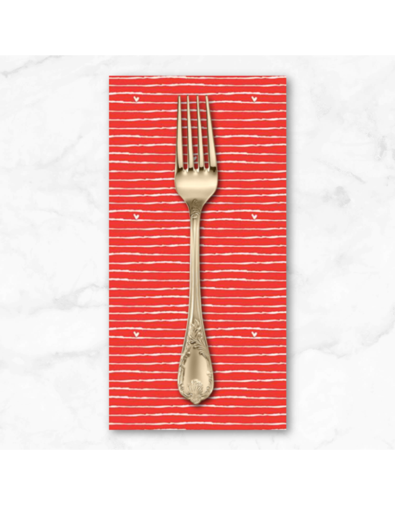PD's Riley Blake Collection From the Heart, Stripe in Valentine Red, Dinner Napkin