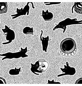 Dear Stella Les Chats Noirs, Chillin Cats in White, Fabric Half-Yards STELLA-LW1768
