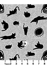 PD's Dear Stella Collection Les Chats Noirs, Chillin Cats in White, Dinner Napkin