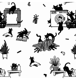 Dear Stella Les Chats Noirs, Black Cats in White, Fabric Half-Yards STELLA-LW1767