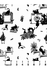 Dear Stella Les Chats Noirs, Black Cats in White, Fabric Half-Yards STELLA-LW1767