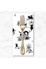 PD's Dear Stella Collection Les Chats Noirs, Black Cats in White, Dinner Napkin