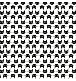 Dear Stella Les Chats Noirs, Cat Heads in White, Fabric Half-Yards STELLA-LW1770