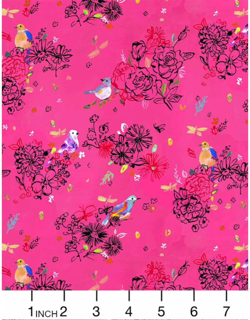 PD's August Wren Collection Tree of Life, Bird Floral in Pink, Dinner Napkin