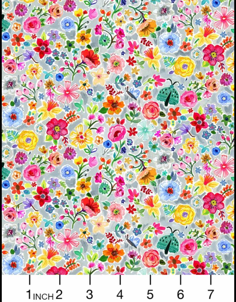 August Wren Tree of Life, Moth Floral in Multi, Fabric Half-Yards STELLA-DJL1754