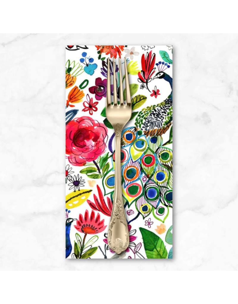 PD's August Wren Collection Tree of Life, Peacocks in Multi, Dinner Napkin