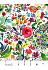 August Wren Tree of Life, Peacocks in Multi, Fabric Half-Yards STELLA-DJL1756