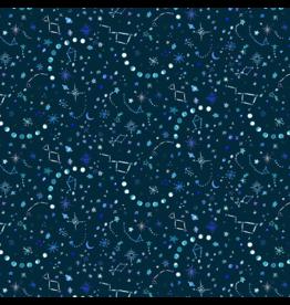 August Wren Tree of Life, Night Sky in Dark, Fabric Half-Yards STELLA-DJL1752