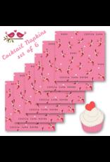 Sending Love, Birds in Valentine Pink, Set of 6 Cocktail Napkins