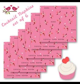 Sending Love, Birds in Pink, Valentine Set of 6 Cocktail Napkins