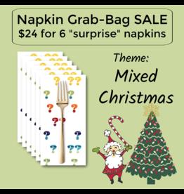 Picking Daisies Christmas Themed Grab-Bag Dinner Napkin, Set of 6