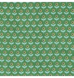 Joel Dewberry Cotton Lawn, Modernist Voile Tulip March in Emerald, Fabric Half-Yards