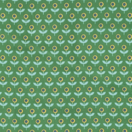 Joel Dewberry Cotton Lawn, Modernist Voile Tulip March in Emerald, Fabric Half-Yards