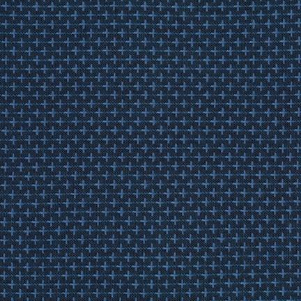 Robert Kaufman Indikon Yarn Dyed Woven, Crossed in Denim, Fabric Half-Yards