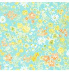 Sevenberry Double Gauze, Comfy Floral Wash in Aqua, Fabric Half-Yards