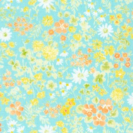 Sevenberry Double Gauze, Comfy Floral Wash in Aqua, Fabric Half-Yards