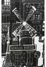 PD's Alexander Henry Collection Black and White, Moulin Rouge in Black, Dinner Napkin