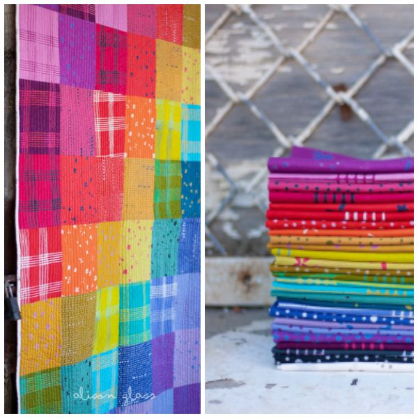 Alison Glass Chroma - A Handcrafted Collection, Plaid in Poppy, Fabric Half-Yards