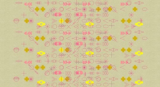 Alison Glass ON SALE-Linen/Cotton Tailored Cloth, Adorn, Symbolic in Warm.jpg, Fabric Half-Yards