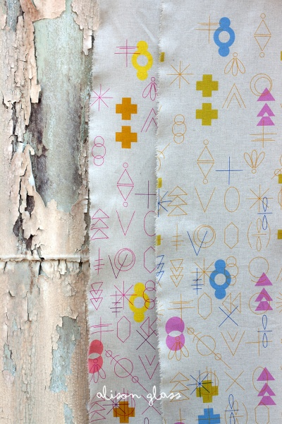 Alison Glass ON SALE-Linen/Cotton Tailored Cloth, Adorn, Symbolic in Cool, Fabric Half-Yards