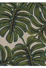 Rifle Paper Co. Linen/Cotton Canvas, Menagerie, Monstera in Natural 8039-12, Fabric Half-Yards